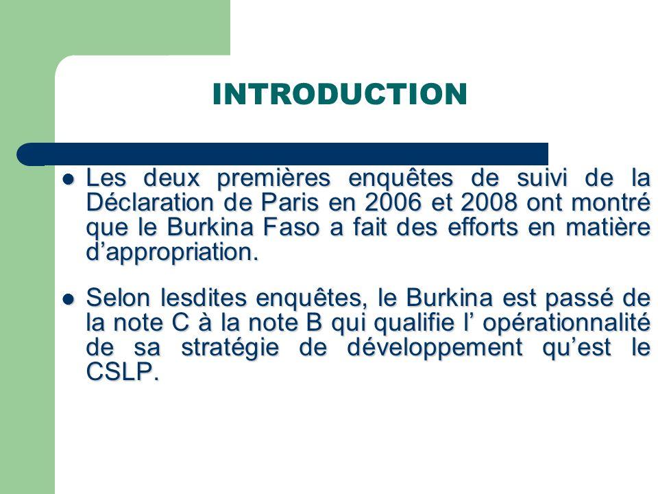 INTRODUCTION Les deux premières enquêtes de suivi de la Déclaration de Paris en 2006 et 2008 ont montré que le Burkina Faso a fait des efforts en matière dappropriation.