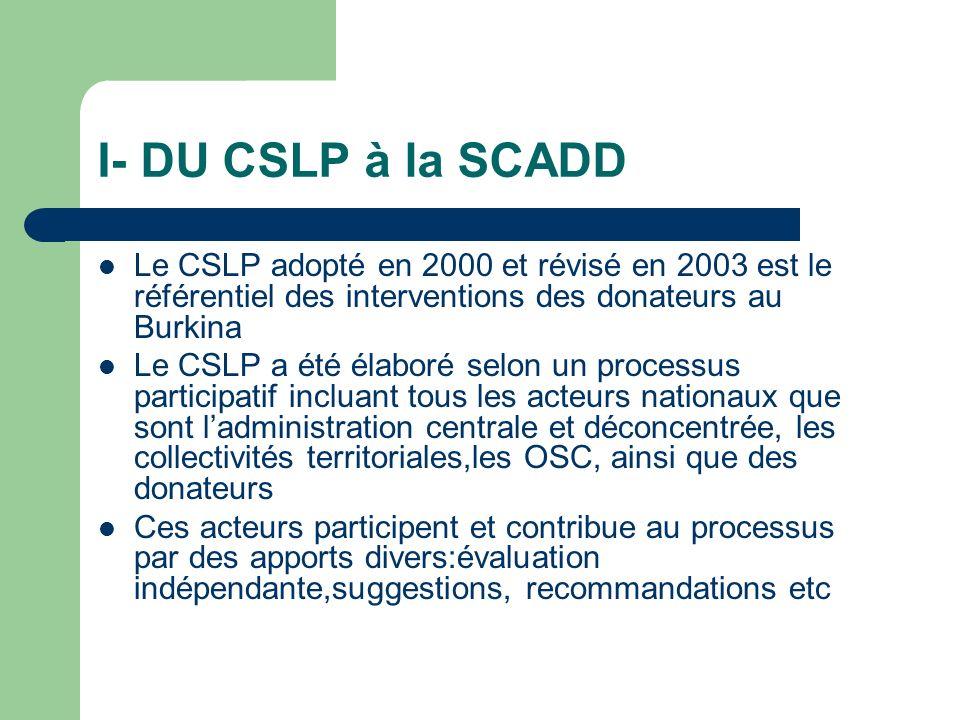 I- DU CSLP à la SCADD Le CSLP adopté en 2000 et révisé en 2003 est le référentiel des interventions des donateurs au Burkina Le CSLP a été élaboré selon un processus participatif incluant tous les acteurs nationaux que sont ladministration centrale et déconcentrée, les collectivités territoriales,les OSC, ainsi que des donateurs Ces acteurs participent et contribue au processus par des apports divers:évaluation indépendante,suggestions, recommandations etc