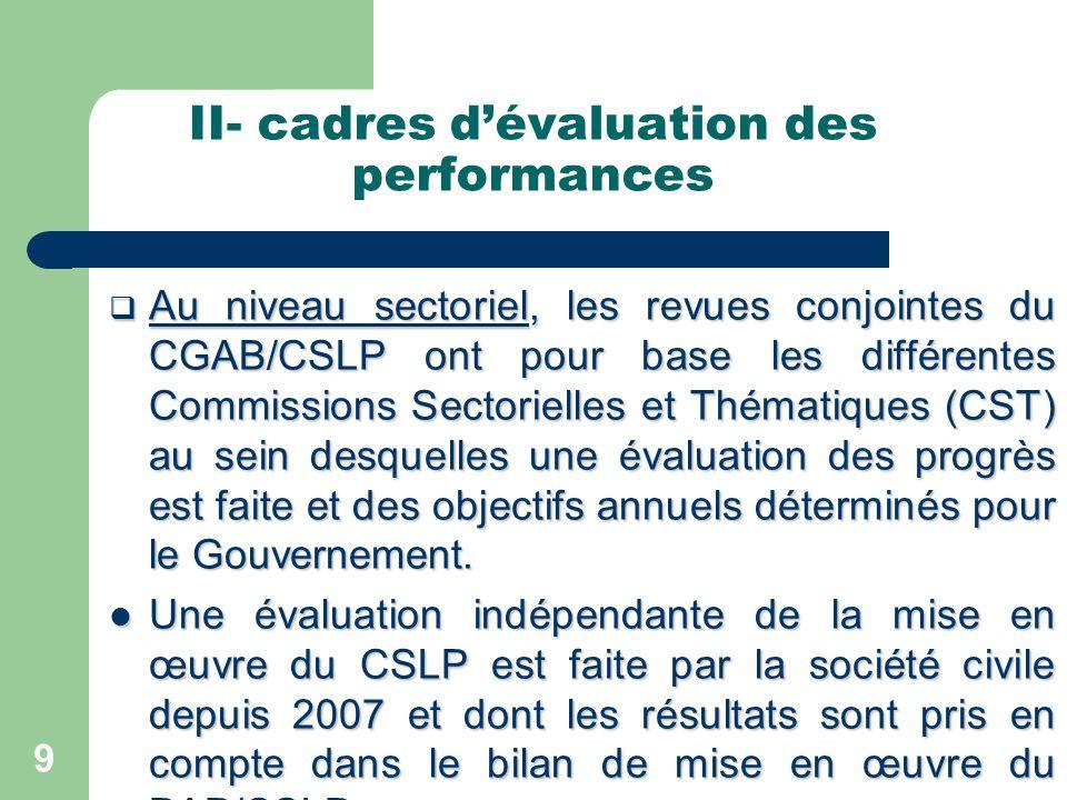 II- cadres dévaluation des performances Au niveau sectoriel, les revues conjointes du CGAB/CSLP ont pour base les différentes Commissions Sectorielles et Thématiques (CST) au sein desquelles une évaluation des progrès est faite et des objectifs annuels déterminés pour le Gouvernement.