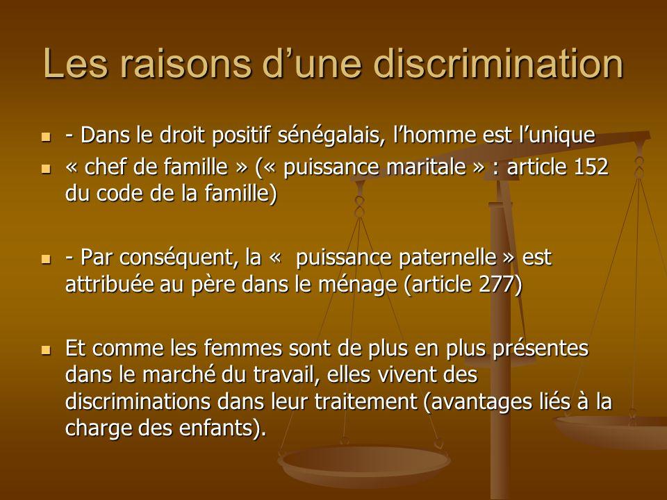 Les raisons dune discrimination - Dans le droit positif sénégalais, lhomme est lunique - Dans le droit positif sénégalais, lhomme est lunique « chef d