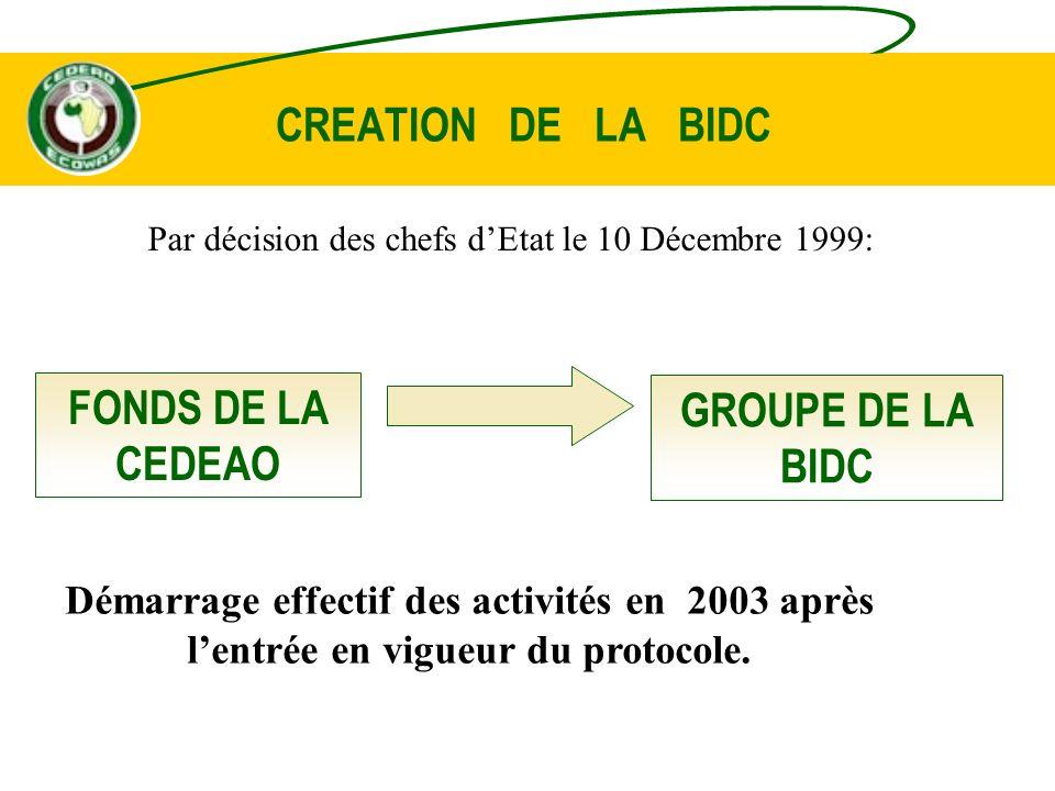 MESURES INTERNES DACCOMPAGNEMENT Lobjectif de la BIDC est de mettre en œuvre des politiques dynamiques de financement visant à apporter une contribution efficace au développement socio-économique de la CEDEAO : - une pratique de gestion aux normes internationales - des outils de gestion et de contrôle performants.