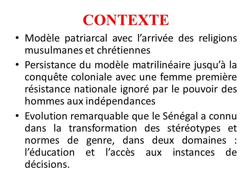 CONTEXTE Modèle patriarcal avec larrivée des religions musulmanes et chrétiennes Persistance du modèle matrilinéaire jusquà la conquête coloniale avec