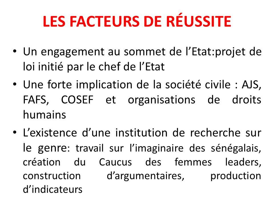 LES FACTEURS DE RÉUSSITE Un engagement au sommet de lEtat:projet de loi initié par le chef de lEtat Une forte implication de la société civile : AJS,