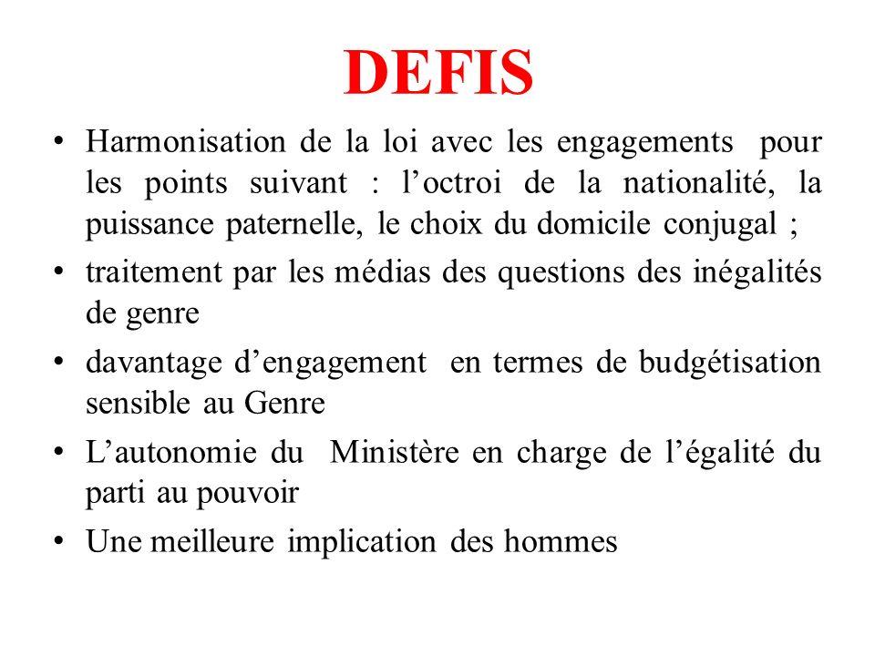 DEFIS Harmonisation de la loi avec les engagements pour les points suivant : loctroi de la nationalité, la puissance paternelle, le choix du domicile