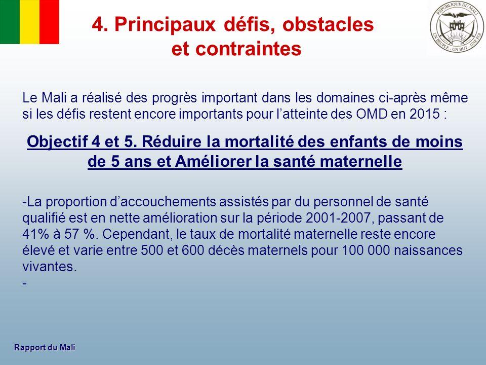 Rapport du Mali Le Mali a réalisé des progrès important dans les domaines ci-après même si les défis restent encore importants pour latteinte des OMD