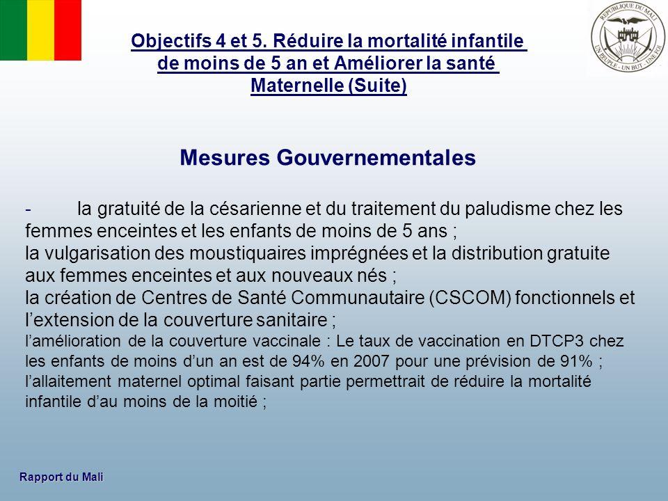 Rapport du Mali Mesures Gouvernementales - la gratuité de la césarienne et du traitement du paludisme chez les femmes enceintes et les enfants de moin
