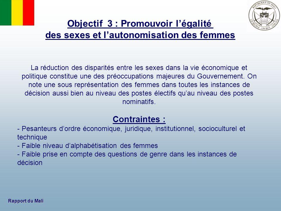 Rapport du Mali La réduction des disparités entre les sexes dans la vie économique et politique constitue une des préoccupations majeures du Gouvernem