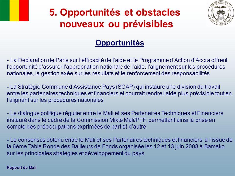 Rapport du Mali Opportunités - La Déclaration de Paris sur lefficacité de laide et le Programme dAction dAccra offrent lopportunité dassurer lappropri
