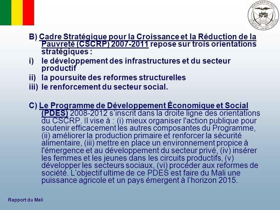 Rapport du Mali Objectif 3 : Promouvoir légalité des sexes et lautonomisation des femmes (Suite) Mesures Gouvernementales - lélaboration dune Politique Nationale dEgalité entre Homme et Femme (PNEHF) ; - ladoption en conseil des ministres du projet de Code des personnes et de la Famille ; - lélaboration et ladoption du Programme dAppui aux femmes opératrices économiques ; - l adoption et la mise en œuvre du programme national de développement des plates formes multifonctionnelles basé sur la création de mini entreprises locales communautaires visant lallègement des travaux des femmes, la réduction de leur temps de travail, la création demploi et la promotion de léconomie locale ; - la mise en place de programmes daccès au micro crédit au profit des femmes et des jeunes ; - ladoption de mesures spéciales dans le secteur de lenseignement au profit des jeunes filles.