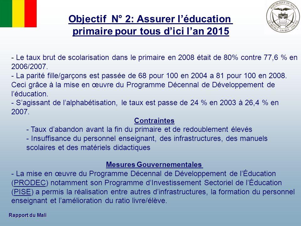 Rapport du Mali - Le taux brut de scolarisation dans le primaire en 2008 était de 80% contre 77,6 % en 2006/2007. - La parité fille/garçons est passée