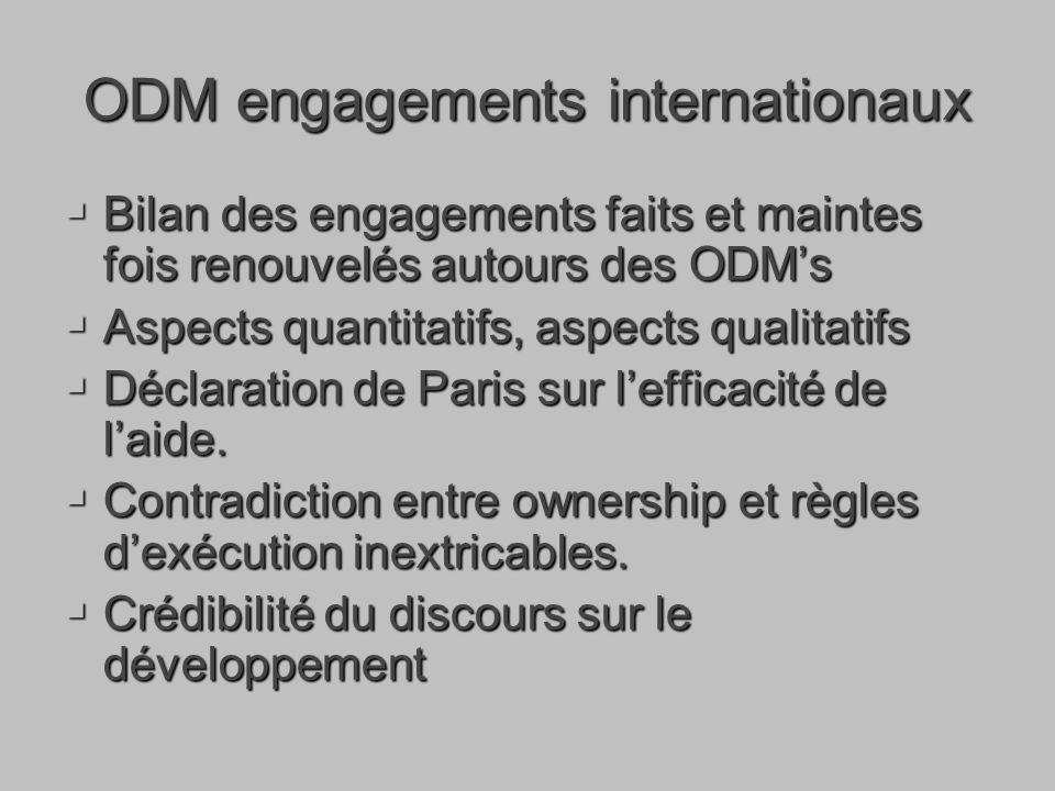 ODM engagements internationaux Bilan des engagements faits et maintes fois renouvelés autours des ODMs Bilan des engagements faits et maintes fois renouvelés autours des ODMs Aspects quantitatifs, aspects qualitatifs Aspects quantitatifs, aspects qualitatifs Déclaration de Paris sur lefficacité de laide.