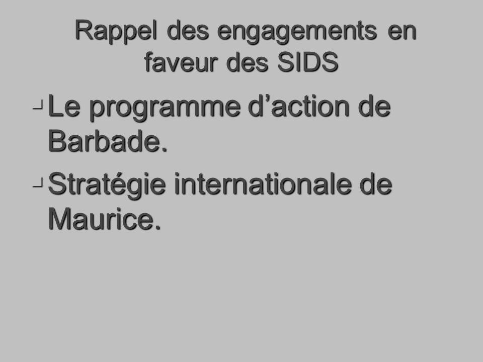 Rappel des engagements en faveur des SIDS Rappel des engagements en faveur des SIDS Le programme daction de Barbade.