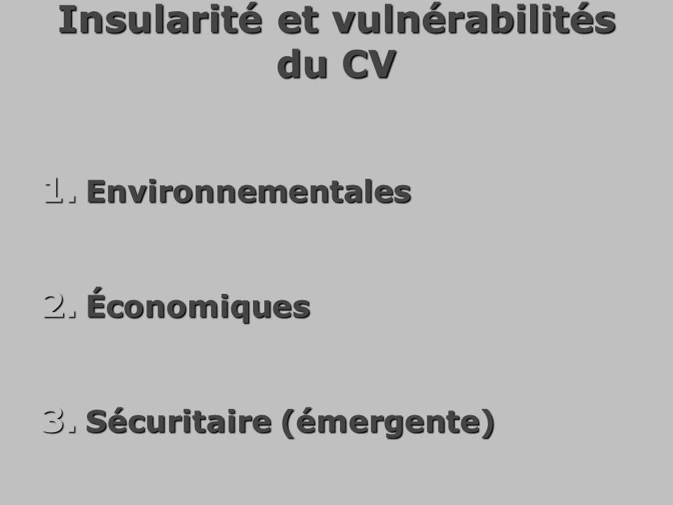 Insularité et vulnérabilités du CV 1. Environnementales 2. Économiques 3. Sécuritaire (émergente)