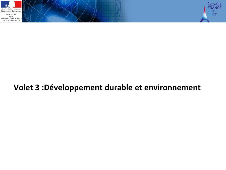 Volet 3 :Développement durable et environnement
