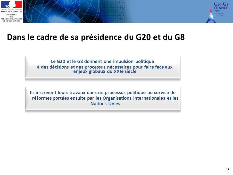 Le G20 et le G8 donnent une impulsion politique à des décisions et des processus nécessaires pour faire face aux enjeux globaux du XXIè siècle Dans le cadre de sa présidence du G20 et du G8 16 décisions et des processus nécessaires pour faire face aux enjeux globaux du XXIè siècle Ils inscrivent leurs travaux dans un processus politique au service de réformes portées ensuite par les Organisations internationales et les Nations Unies