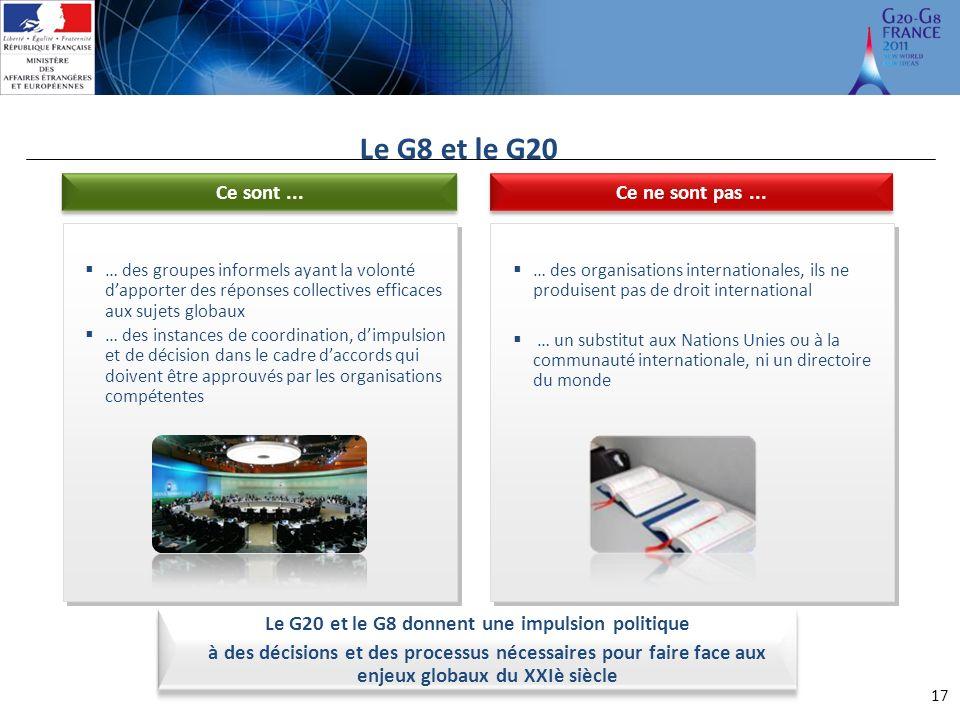 Le G20 et le G8 donnent une impulsion politique à des décisions et des processus nécessaires pour faire face aux enjeux globaux du XXIè siècle Le G8 et le G20 17 Ce ne sont pas...Ce sont...