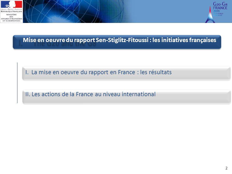 2 Mise en oeuvre du rapport Sen-Stiglitz-Fitoussi : les initiatives françaises I.