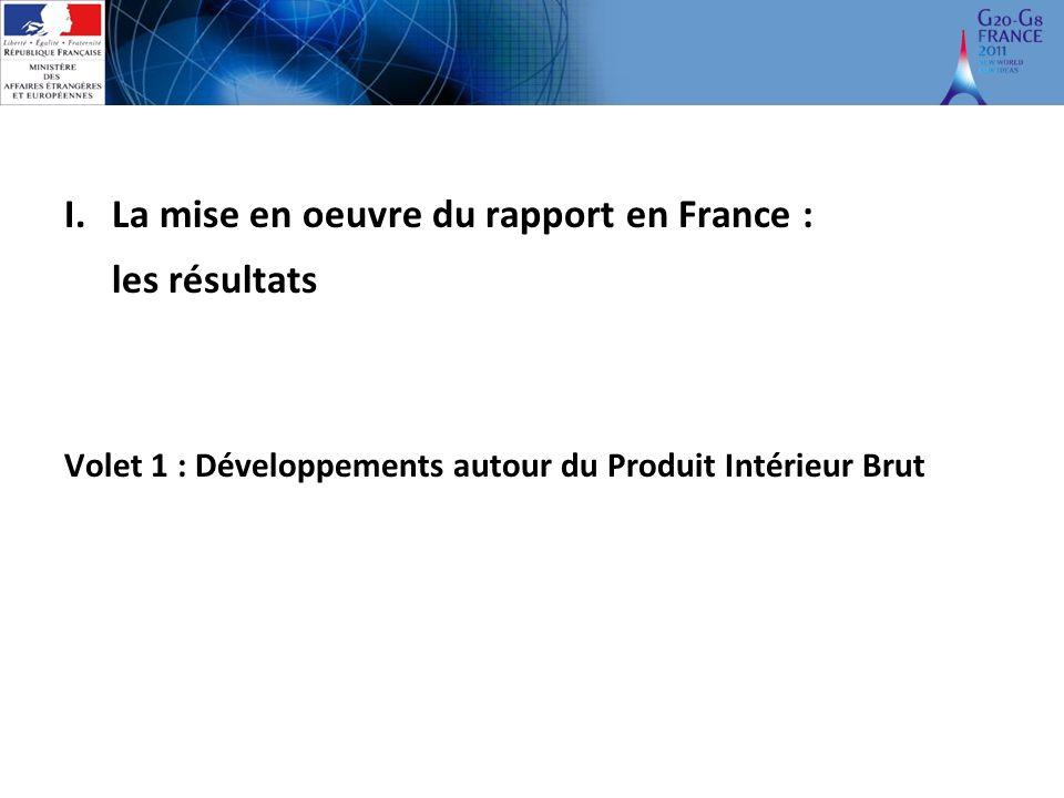 I.La mise en oeuvre du rapport en France : les résultats Volet 1 : Développements autour du Produit Intérieur Brut