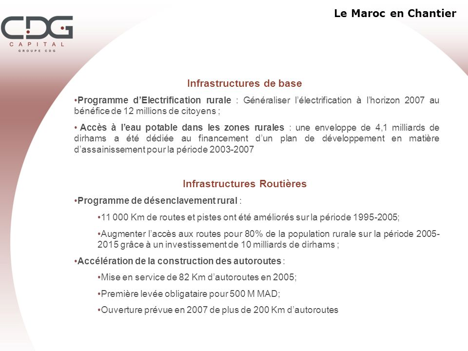 Le Maroc en Chantier Infrastructures de base Programme dElectrification rurale : Généraliser lélectrification à lhorizon 2007 au bénéfice de 12 millio