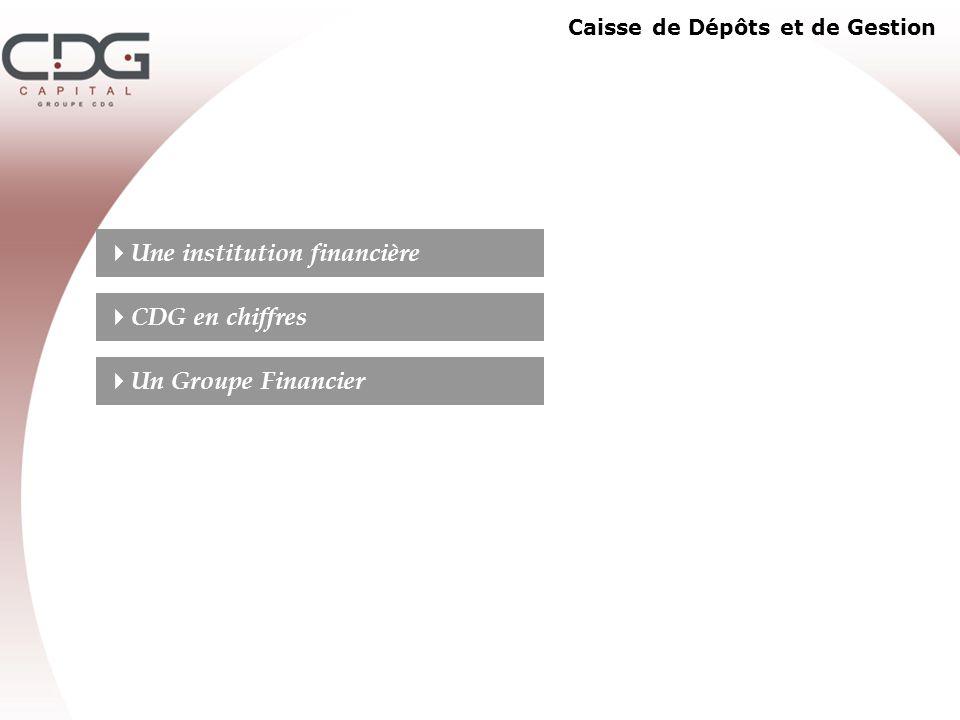 Caisse de Dépôts et de Gestion Une institution financière CDG en chiffres Un Groupe Financier