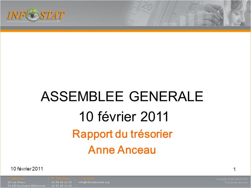 1 ASSEMBLEE GENERALE 10 février 2011 Rapport du trésorier Anne Anceau 10 février 2011