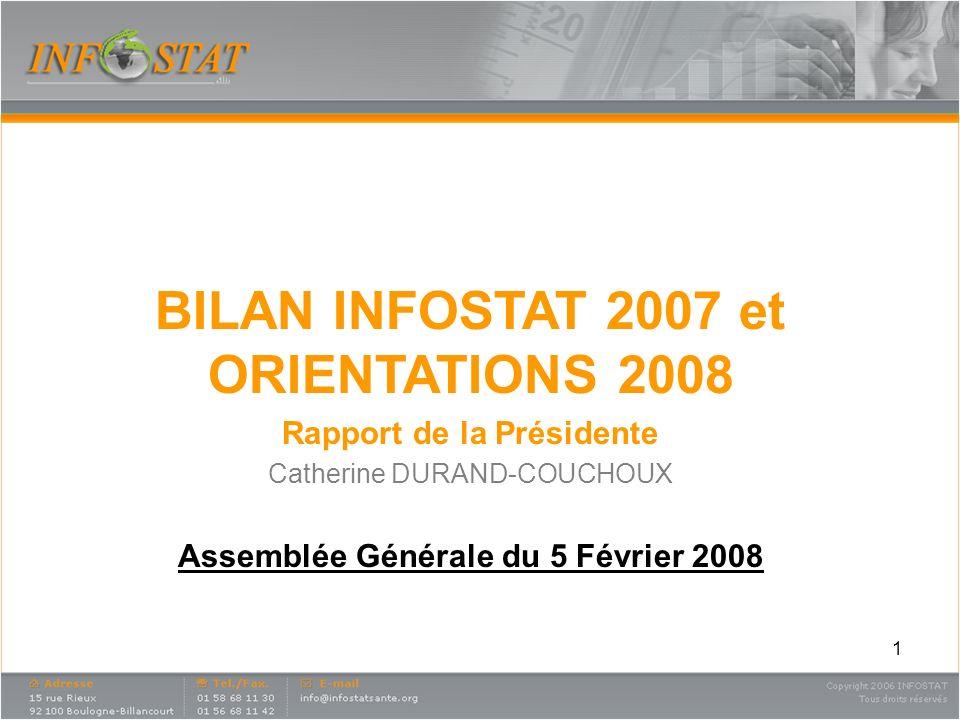 1 BILAN INFOSTAT 2007 et ORIENTATIONS 2008 Rapport de la Présidente Catherine DURAND-COUCHOUX Assemblée Générale du 5 Février 2008