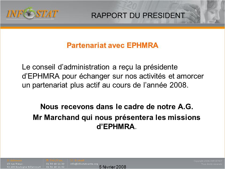 5 février 2008 Partenariat avec EPHMRA Le conseil dadministration a reçu la présidente dEPHMRA pour échanger sur nos activités et amorcer un partenariat plus actif au cours de lannée 2008.