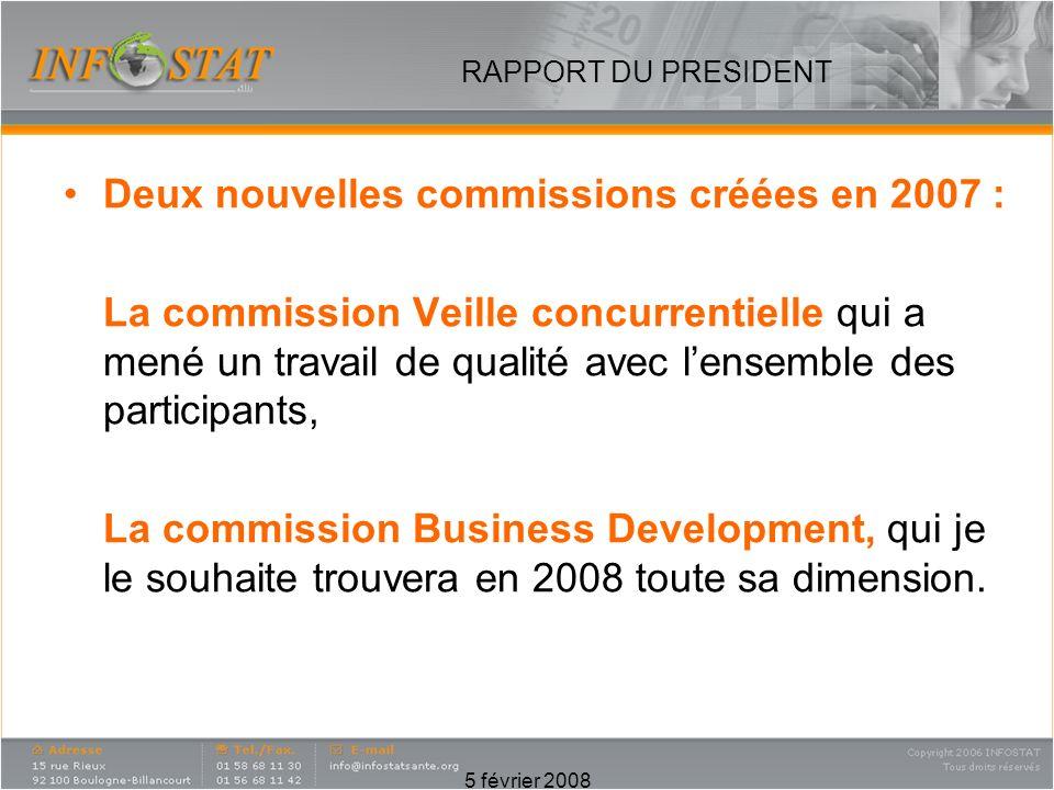 5 février 2008 RAPPORT DU PRESIDENT Deux nouvelles commissions créées en 2007 : La commission Veille concurrentielle qui a mené un travail de qualité avec lensemble des participants, La commission Business Development, qui je le souhaite trouvera en 2008 toute sa dimension.