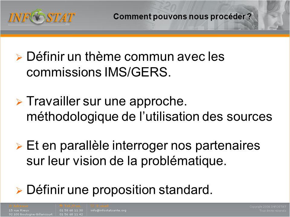 Comment pouvons nous procéder .Définir un thème commun avec les commissions IMS/GERS.