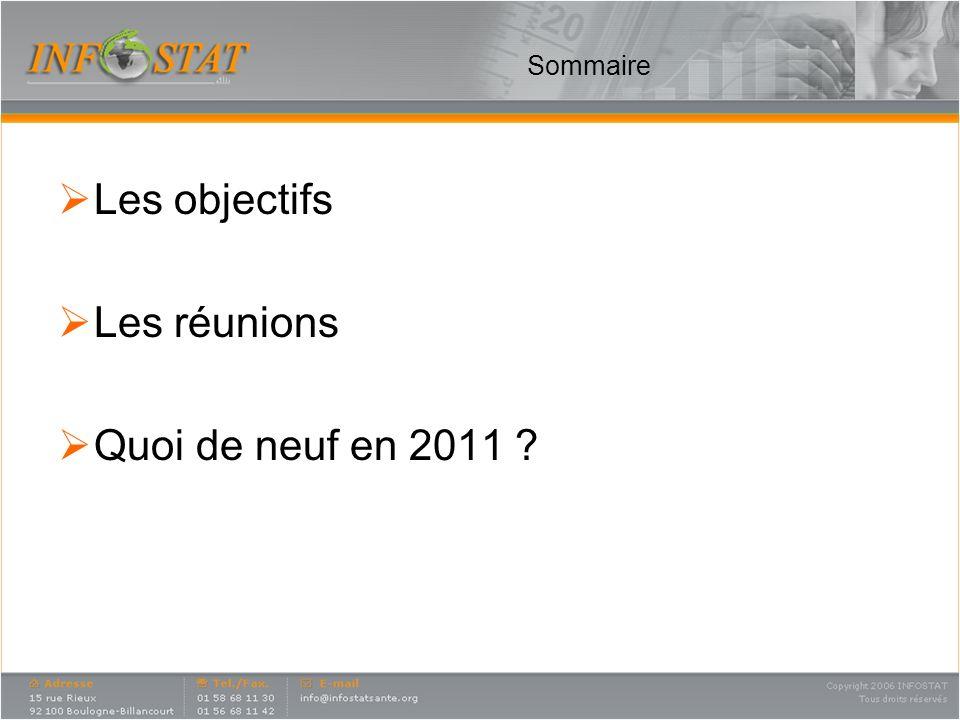 Sommaire Les objectifs Les réunions Quoi de neuf en 2011 ?