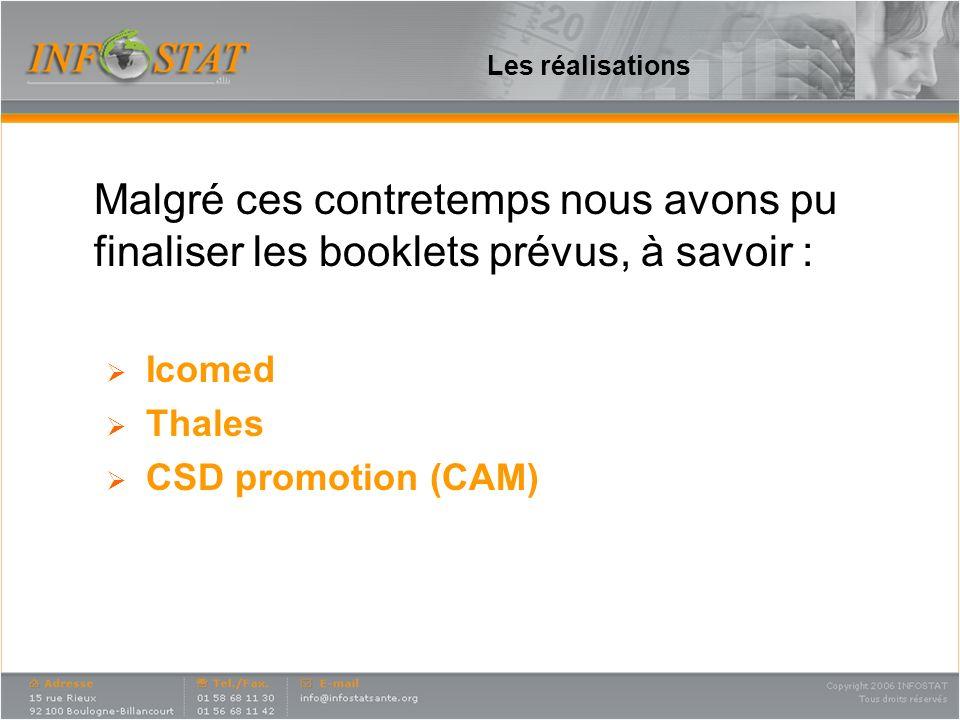 Les réalisations Malgré ces contretemps nous avons pu finaliser les booklets prévus, à savoir : Icomed Thales CSD promotion (CAM)