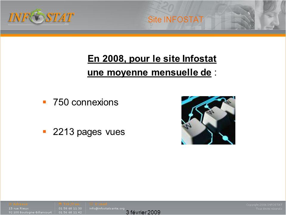 3 février 2009 Site INFOSTAT En 2008, pour le site Infostat une moyenne mensuelle de : 750 connexions 2213 pages vues