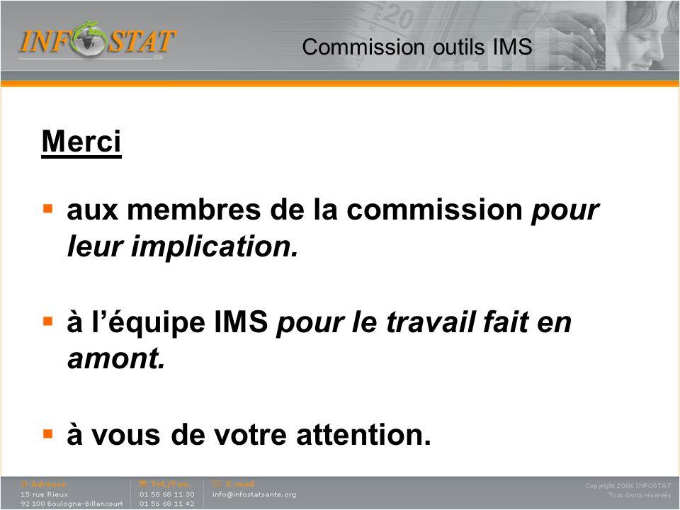 Commission outils IMS Merci aux membres de la commission pour leur implication. à léquipe IMS pour le travail fait en amont. à vous de votre attention