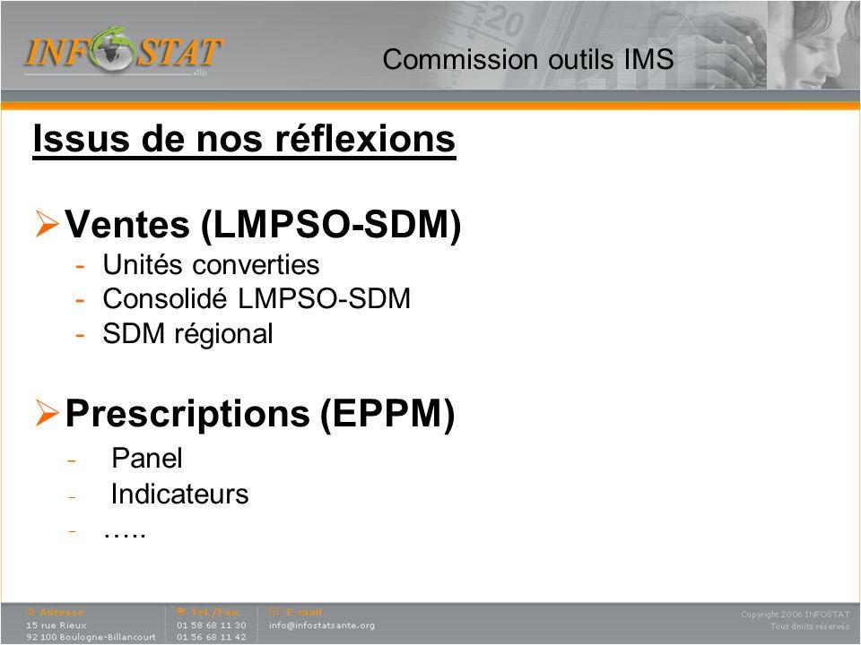 Commission outils IMS Issus de nos réflexions Ventes (LMPSO-SDM) -Unités converties -Consolidé LMPSO-SDM -SDM régional Prescriptions (EPPM) ̵ Panel ̵