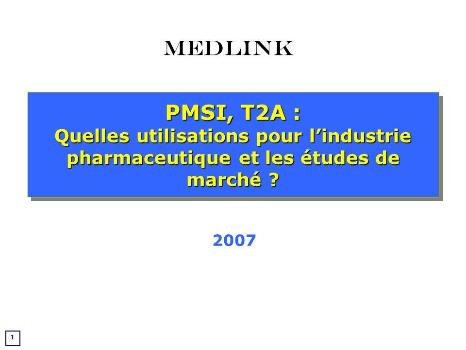 22 Utilisation du PMSI pour les études épidémiologiques et marketing La base de données PMSI est actuellement la seule base de données médicalisée française exhaustive.