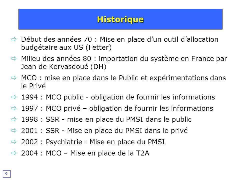 7 Le PMSI (Programme de Médicalisation des Systèmes dInformation) est un programme national de recueil dinformation sur toutes les hospitalisations, en établissement public ou privé, mis en place en France en 1994.