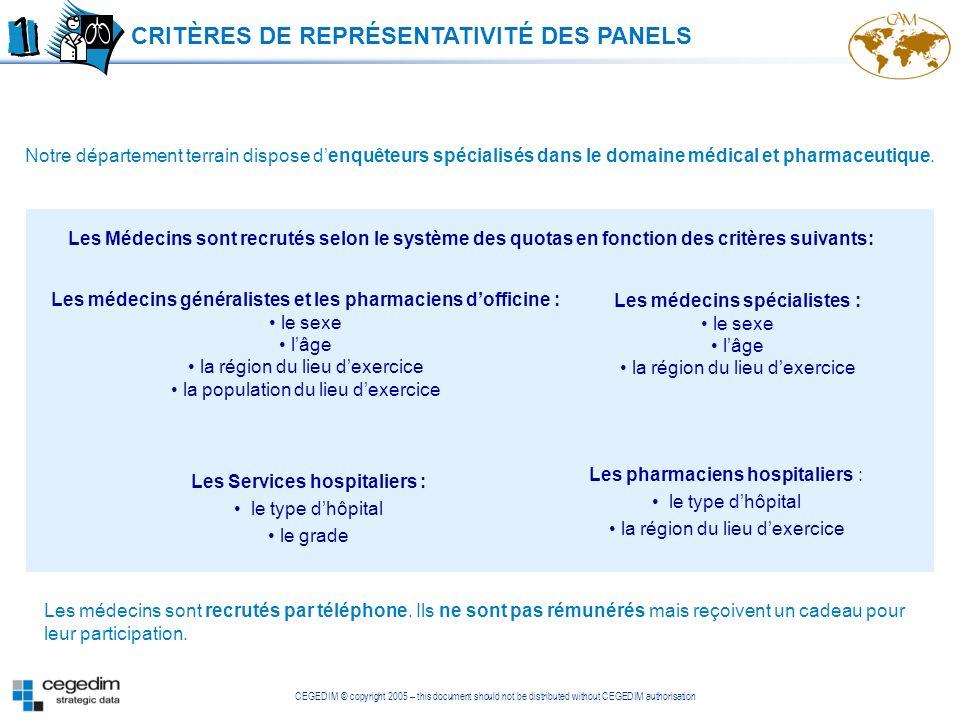 CEGEDIM © copyright 2005 – this document should not be distributed without CEGEDIM authorisation Notre département terrain dispose denquêteurs spécial