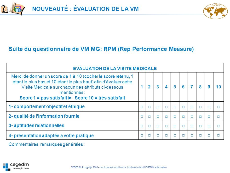 CEGEDIM © copyright 2005 – this document should not be distributed without CEGEDIM authorisation Suite du questionnaire de VM MG: RPM (Rep Performance