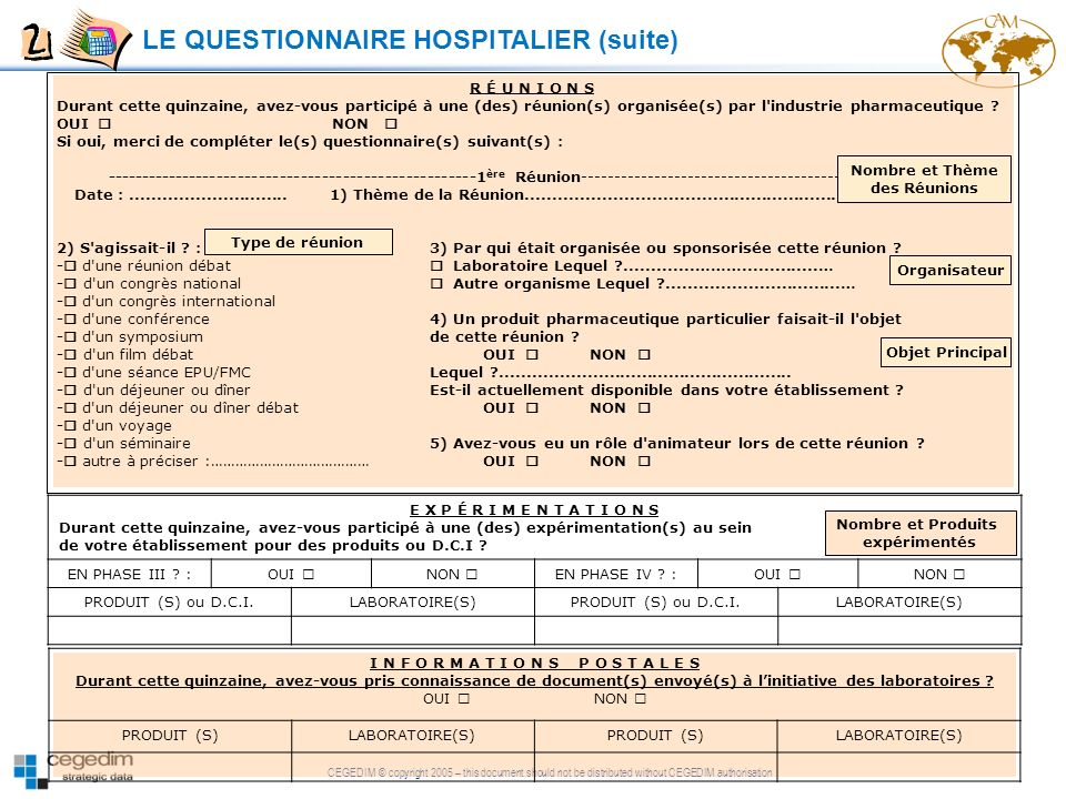 CEGEDIM © copyright 2005 – this document should not be distributed without CEGEDIM authorisation LE QUESTIONNAIRE HOSPITALIER (suite) E X P É R I M E