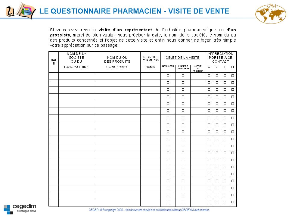 CEGEDIM © copyright 2005 – this document should not be distributed without CEGEDIM authorisation LE QUESTIONNAIRE PHARMACIEN - VISITE DE VENTE