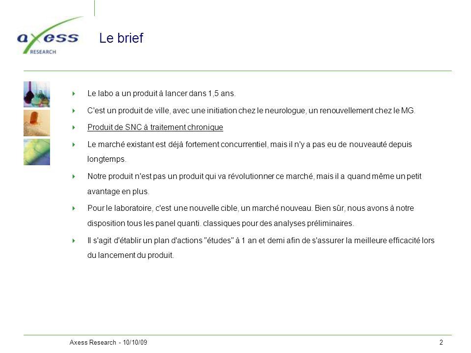 Axess Research - 10/10/092 Le brief Le labo a un produit à lancer dans 1,5 ans. C'est un produit de ville, avec une initiation chez le neurologue, un