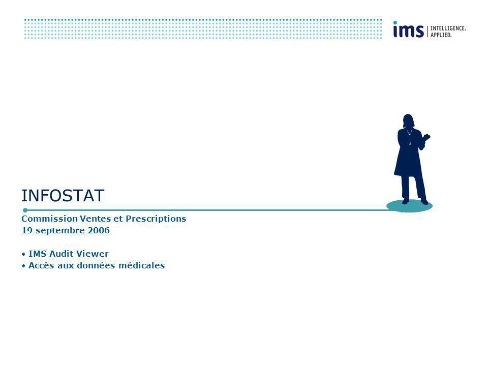 INFOSTAT Commission Ventes et Prescriptions 19 septembre 2006 IMS Audit Viewer Accès aux données médicales