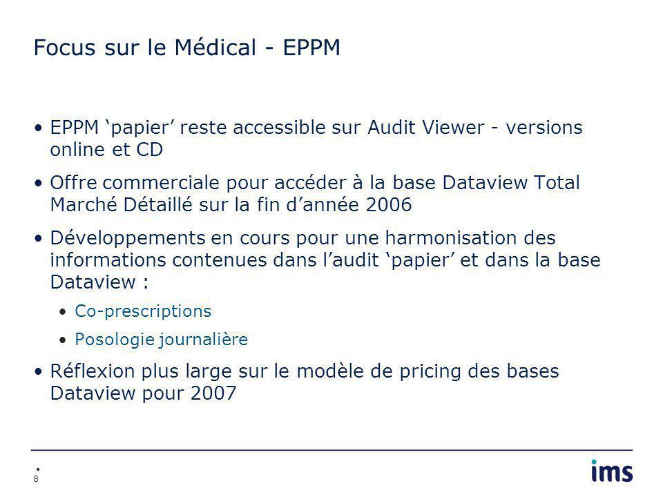 8 Focus sur le Médical - EPPM EPPM papier reste accessible sur Audit Viewer - versions online et CD Offre commerciale pour accéder à la base Dataview