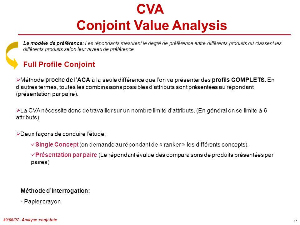 29/06/07- Analyse conjointe 11 Méthode proche de lACA à la seule différence que lon va présenter des profils COMPLETS. En dautres termes, toutes les c