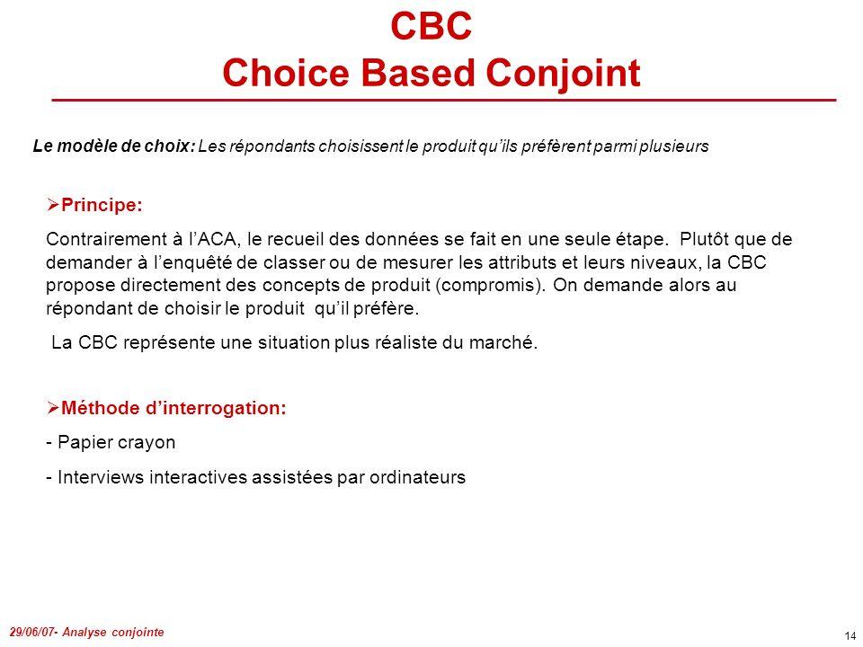 29/06/07- Analyse conjointe 14 CBC Choice Based Conjoint Le modèle de choix: Les répondants choisissent le produit quils préfèrent parmi plusieurs Pri