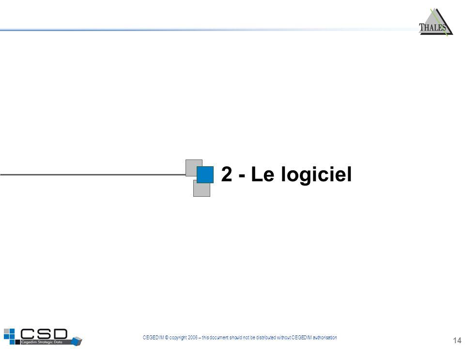 CEGEDIM © copyright 2006 – this document should not be distributed without CEGEDIM authorisation 2 - Le logiciel 14