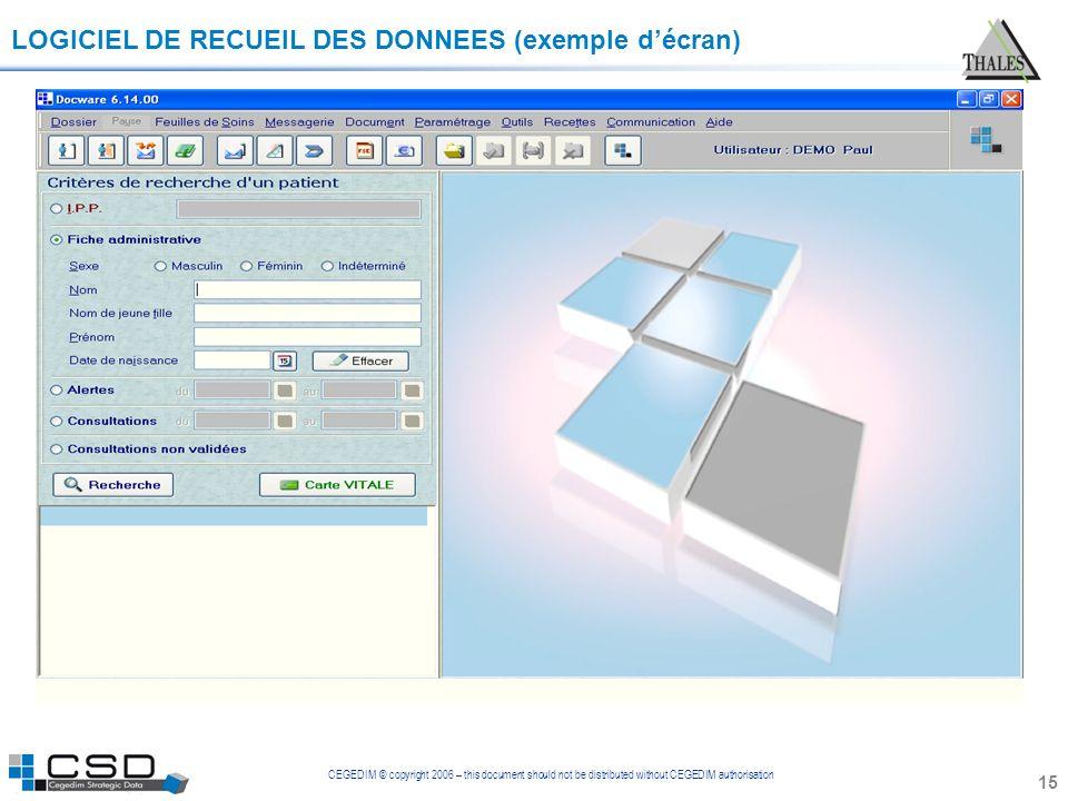 CEGEDIM © copyright 2006 – this document should not be distributed without CEGEDIM authorisation 15 LOGICIEL DE RECUEIL DES DONNEES (exemple décran)
