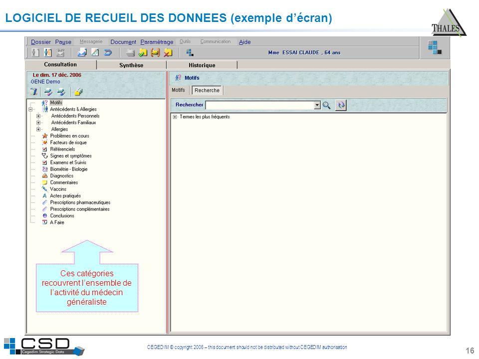 CEGEDIM © copyright 2006 – this document should not be distributed without CEGEDIM authorisation 16 LOGICIEL DE RECUEIL DES DONNEES (exemple décran) C