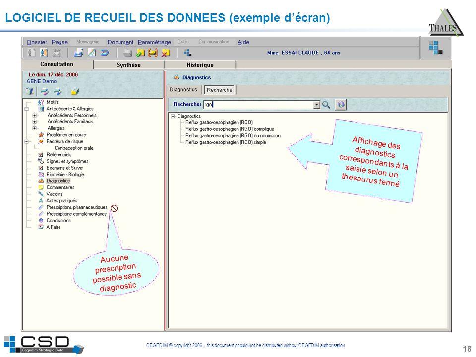 CEGEDIM © copyright 2006 – this document should not be distributed without CEGEDIM authorisation 18 LOGICIEL DE RECUEIL DES DONNEES (exemple décran) A