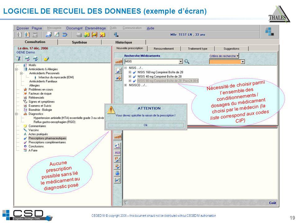 CEGEDIM © copyright 2006 – this document should not be distributed without CEGEDIM authorisation 19 LOGICIEL DE RECUEIL DES DONNEES (exemple décran) A